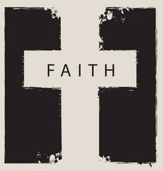 Sign scratched cross with word faith vector