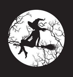 Silhouette beautiful witch girl on a broom vector