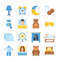 sleep time set of icons in a flat style vector image