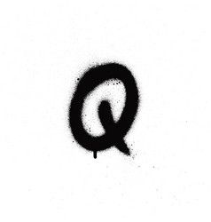 Sprayed q font graffiti with leak in black vector