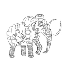 Steampunk style mammoth coloring book vector