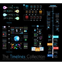 Timeline infographic design templates set 1 on vector