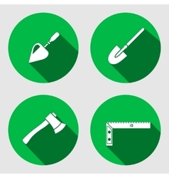 Tool icon set Trowel spattle surfacer axe vector image