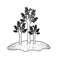 Trees set in grassland in black sections vector