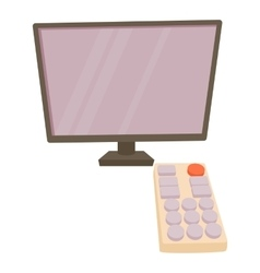 TV with remote icon cartoon style vector image