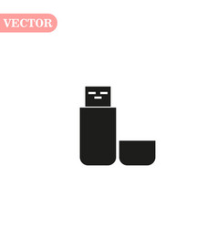 Usb flash drive icon with shadow on a white vector