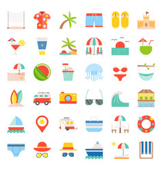 Vacation on the beach beach related flat icon set vector