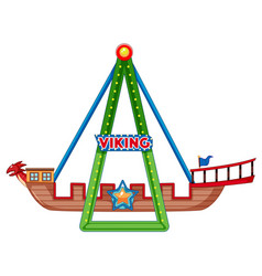 Viking ship ride on white background vector