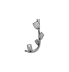 Vintage floral bold letter j logo spring classic vector