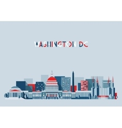 Washington DC Skyline Flat Design vector image