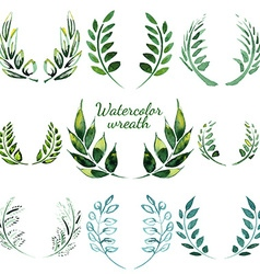 Watercolor vintage floral trendy set vector image