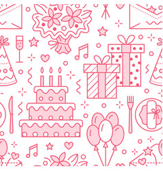 Wedding birthday party seamless pattern flat vector