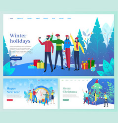 winter holidays christmas vacation people vector image