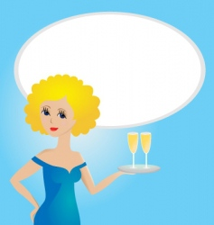 young women with champagne glasses vector image