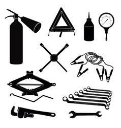Auto service icons repair car on the road garage vector