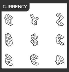 currency outline isometric icons vector image vector image