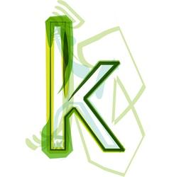 Green letter K vector image vector image