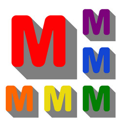 letter m sign design template element set of red vector image