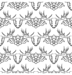 Seamless pattern with elk and flowers vector image