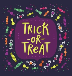 Trick or treat candy card vector image vector image