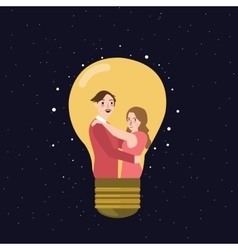 couple man woman thinking idea lamp bulb marriage vector image vector image