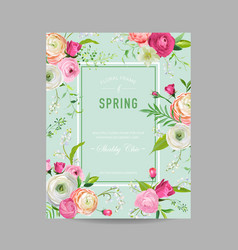 floral spring design template wedding invitation vector image vector image