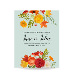 Floral wedding invitation card with autumn vector
