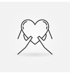 Hands holding heart icon vector image vector image