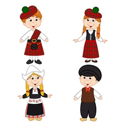 set of isolated children of Scotland and vector image vector image