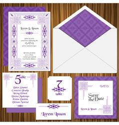 Wedding Invitation Card Set vector image vector image