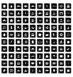 100 bakery icons set grunge style vector image