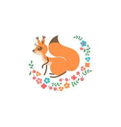 cartoon cute squirrel little funny print vector image vector image