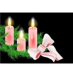 christmas wreath and candle vector image vector image