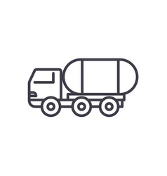fuel truck line icon sign on vector image