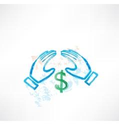 hands dollar grunge vector image
