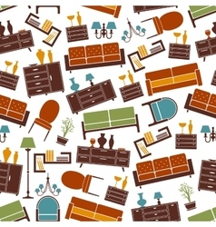 Living room furniture seamless pattern background vector image vector image