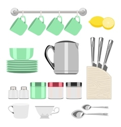 set of objects for tea vector image vector image