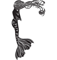 Crying mermaid stencil for stickers vector image