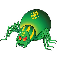 Green spider cartoon vector