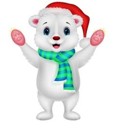 Polar bear cartoon waving vector image vector image
