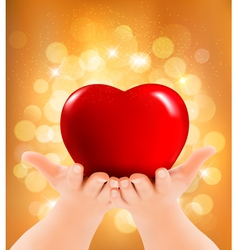 Valentines day background Hands holding red heart vector image vector image