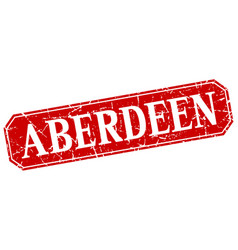 aberdeen red square grunge retro style sign vector image