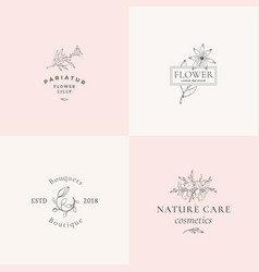 Abstract floral signs or logo templates set vector