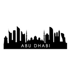 Abu dhabi skyline silhouette black dhabi city vector
