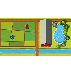 Aerial view of farm with tractors and crops vector
