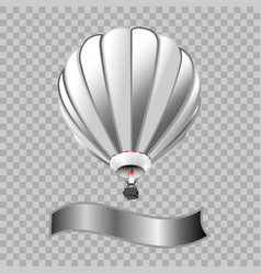 Air balloon with basket isolated in transparent vector