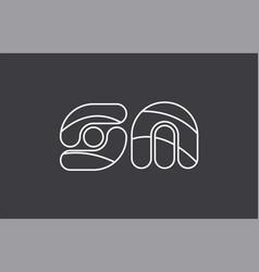 alphabet letter sm s m combination black white vector image