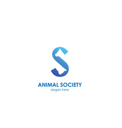 animal soceity logo concept - letter s vector image
