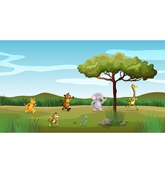 Animals racing at the hill vector image