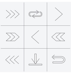 Arrows icons Download repeat linear signs vector image